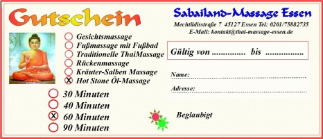 60 Min. Hot Stone �l-Massage Gutschein
